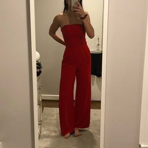 NWOT cute button red jumpsuit